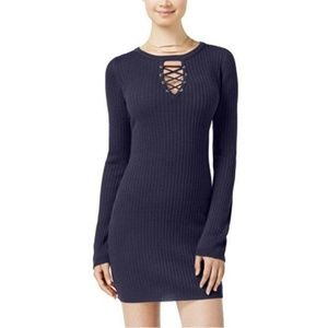 Planet Gold Juniors' Blue Ribbed Lace-up Dress